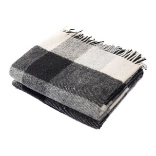 Contemporary Black and Cream Checkered Throw For Sale