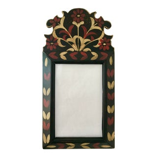Early Vintage Special Hand Painted Folk Art Mirror For Sale