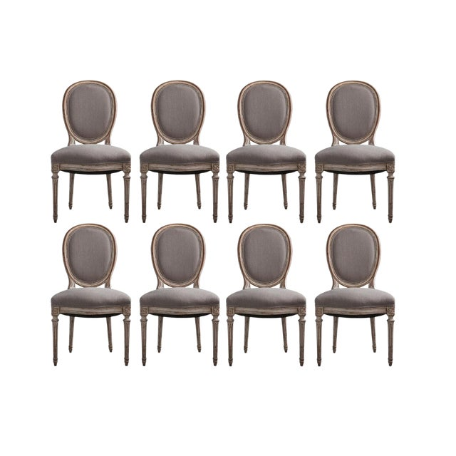 French Louis XVI Style Hand-Carved Dining Chairs - Set of 8 For Sale