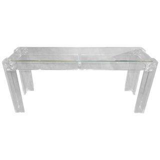 Charles Hollis Jones Style Mid Century Modern Lucite and Glass Console Table For Sale