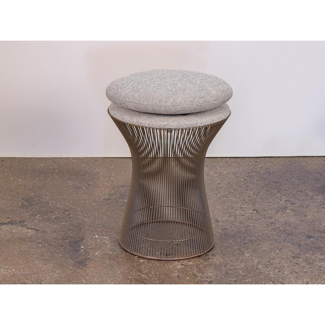 Industrial and organic steel wire stool by Warren Platner from the Platner Collection for Knoll, 1966. Newly upholstered...