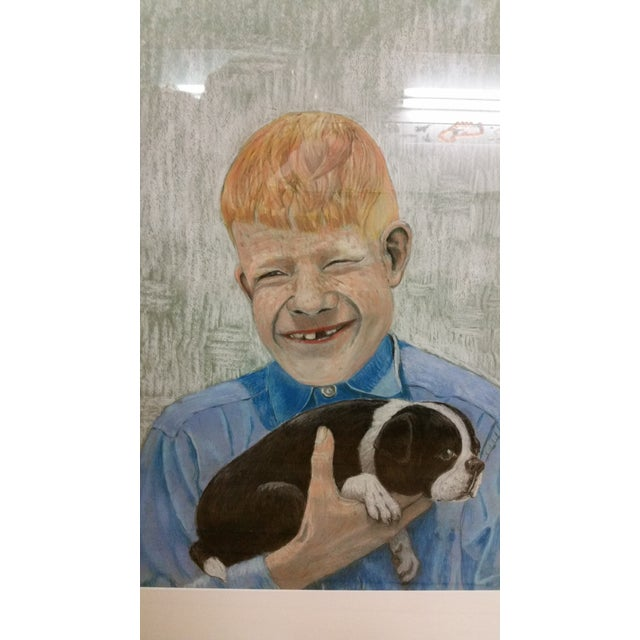 Mid-Century Outsider Boy & Dog Pastel Painting - Image 2 of 4
