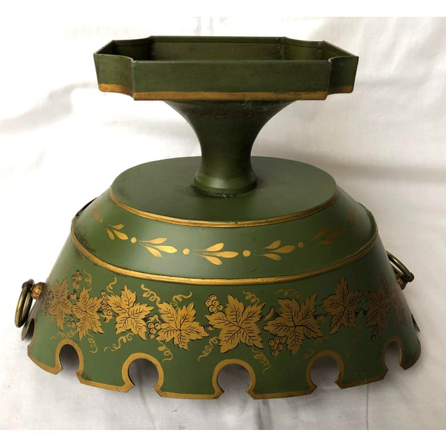 French Green & Gold Tole Neoclassical Footed Monteith/Rafraichissoire/Chillers, Hp For Sale - Image 9 of 13
