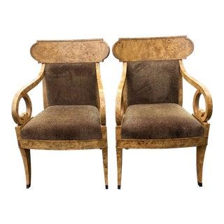 Vintage Baker Burl Wood Klismos Chairs - a Pair For Sale