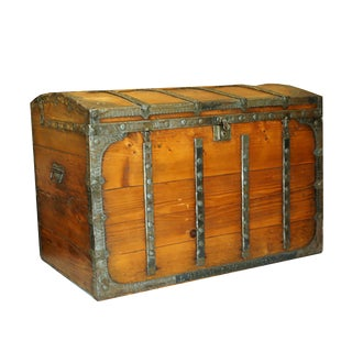 19th c. Elmwood and Tin Trunk c. 1800s
