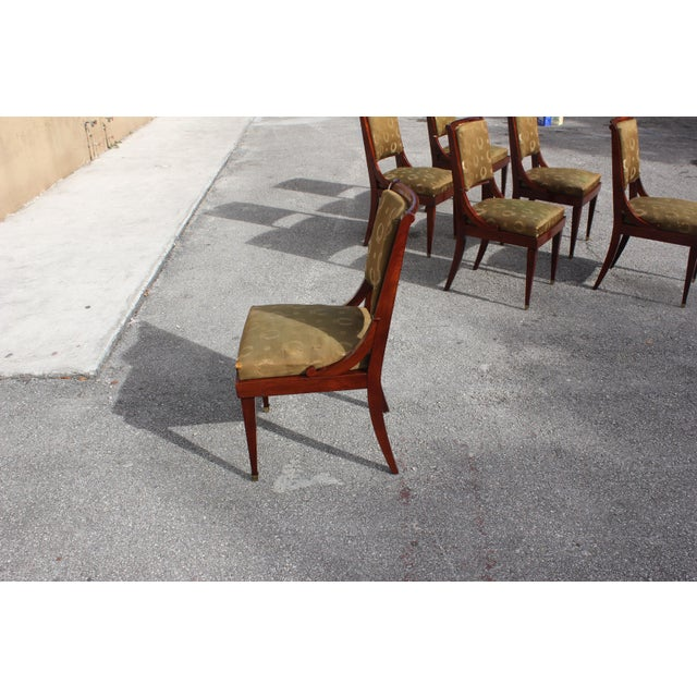 1910s Vintage French Empire Solid Mahogany Dining Chairs - Set of 6 For Sale - Image 9 of 13