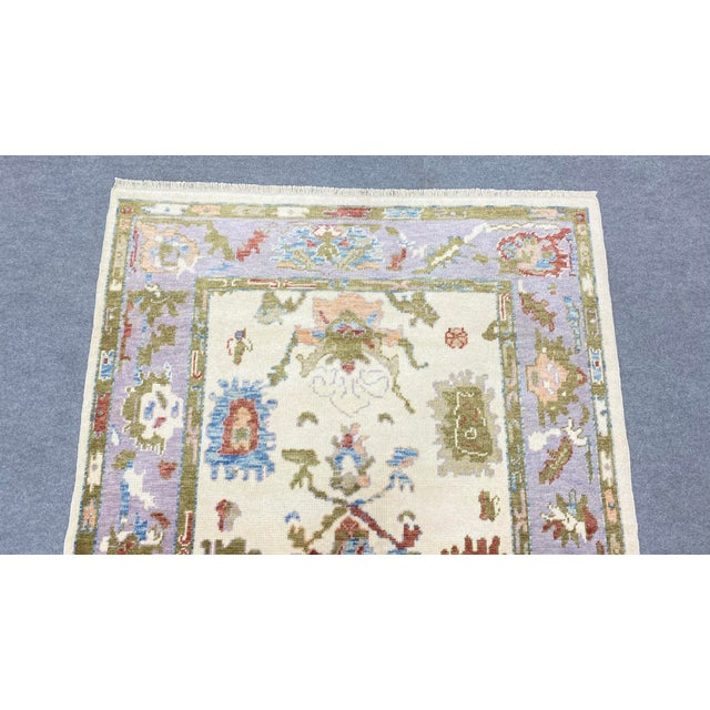 2010s Turkish Contemporary Floral Hand-Knotted Oushak Area Rug For Sale - Image 5 of 13