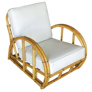 Restored Half Moon Rattan Two Strand Lounge Chair For Sale