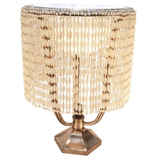 Large Art Deco Solid Silver Bronze Ruhlmann Hollywood Lamp With Alabaster Shade and Frosted Glass Bead Drapery For Sale