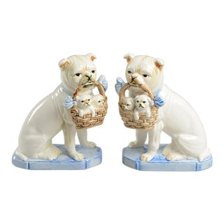 Vintage Fitz and Floyd English Bulldog w/ Puppies Bookend Figurine Pair For Sale