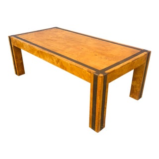 Italian Modern Birdseye Maple and Brass Coffee Table For Sale
