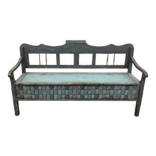 19th C Scandinavian Painted Hall Bench With Storage For Sale