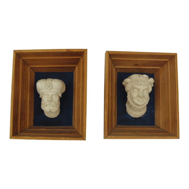 Vintage Souvenir Framed Busts - A Pair For Sale