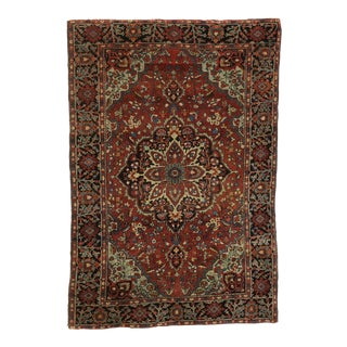 Antique Persian Farahan Accent Rug - 03'03 X 04'10 For Sale