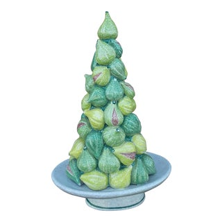 Vintage Large Italian Ceramic Fig Topiary Centerpiece, 17.5 Inches For Sale