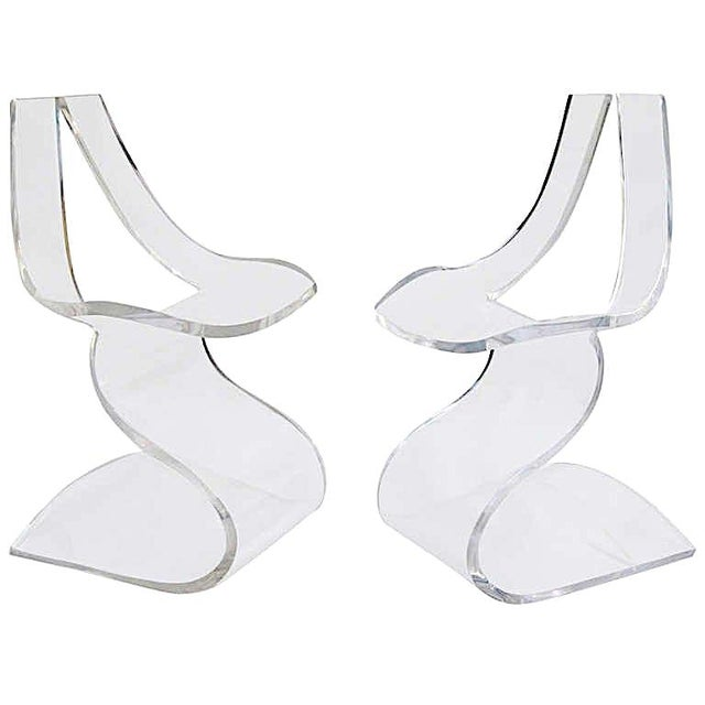 """Plastic Boris Tabacoff MMM """"Dumas"""" Lucite Chairs - a Pair For Sale - Image 7 of 9"""