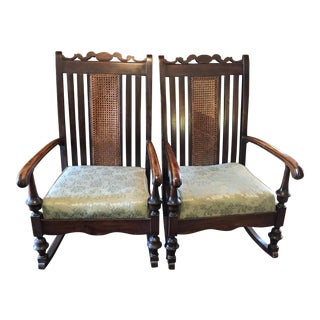 Caned Back Walnut Rocking Chairs - A Pair For Sale