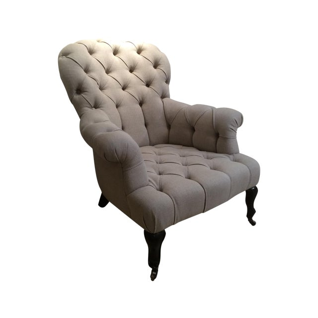 Natural Linen Najac Tufted Armchair - Image 1 of 5
