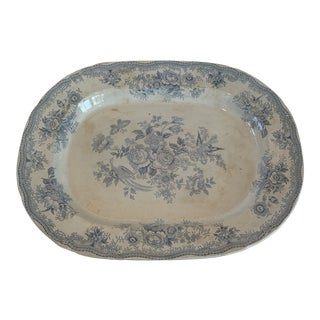 Antique Blue and White C & E Asiatic Pheasants Platter For Sale