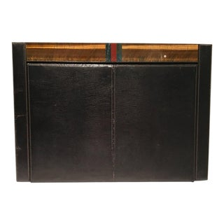 1970s Gucci Black Leather, Snake and Semi Precious Header Two-Piece Desk Blotter