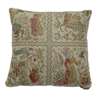 20th Century Renaissance Style Decorative Support Pillow With Silk Embroidered Princesses and Knights For Sale