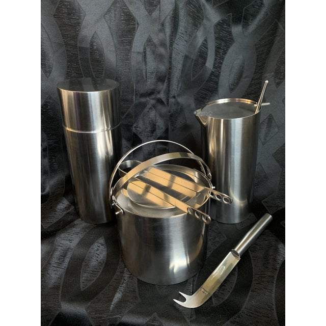 Offered here is this stylish original 1970s beverage set designed by Arne Jacobsen and produced by Stelton in Denmark....