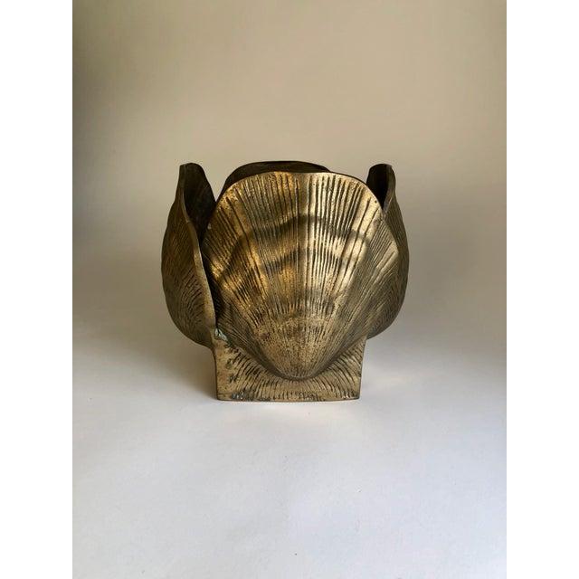 Metal Vintage Brass Seashell Planter For Sale - Image 7 of 7