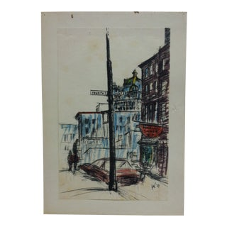 "Mounted Color Pittsburgh Print, ""Fourth & Market"" by Julius Kahn - 1969 For Sale"