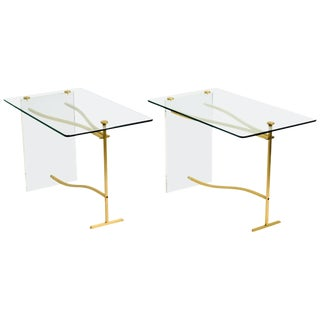Lucite and Brass Glass Top Side Tables For Sale