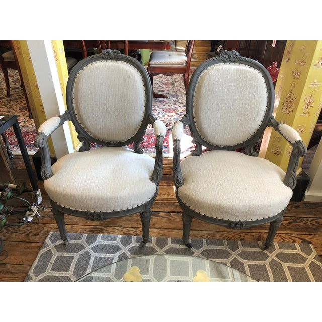 1940s Vintage Grey Painted French Fauteuil Chairs- A Pair For Sale - Image 13 of 13