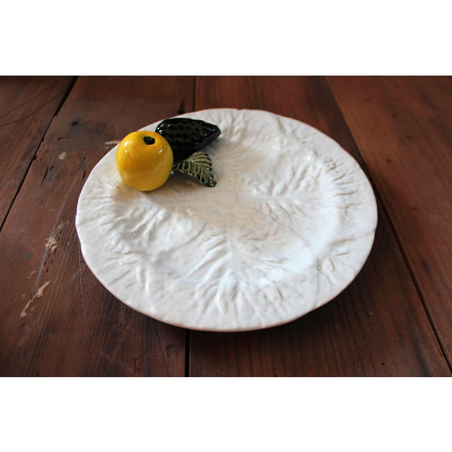 Ceramic Vintage Majolica Cabbage Trompe l'Oeil Fruit Plate For Sale - Image 7 of 7