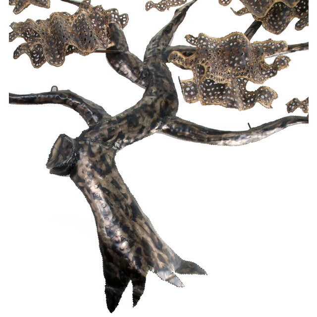 Brass and Metal Tree Wall Art Sculpture For Sale - Image 9 of 10
