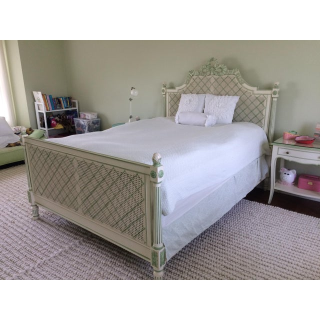 Julia Gray Queen Cane Bed For Sale In New York - Image 6 of 7