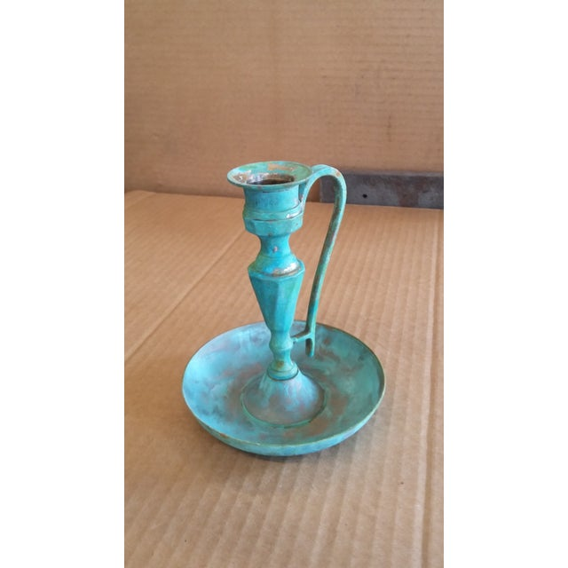 Vintage Bronze Candle Holder II For Sale - Image 4 of 4