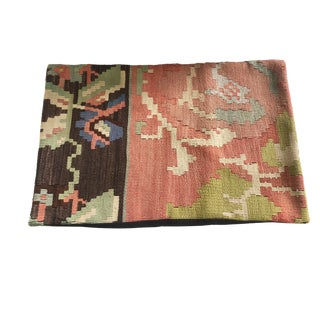 """Custom Made Old Turkish Tribal Kilim Lumbar Pillow Cover 16"""" by 24"""" For Sale"""