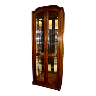 1980s Vintage Transitional Style Two Door Lighted Curio Cabinet For Sale