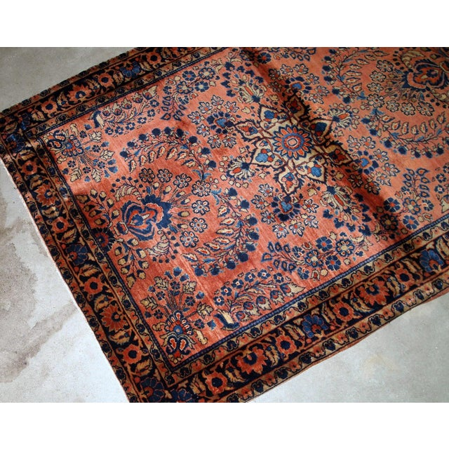 Textile 1920s, Handmade Antique Persian Sarouk Rug 3.3' X 5.5' For Sale - Image 7 of 9