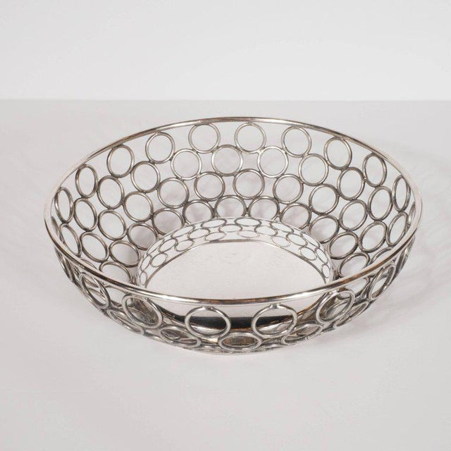 Mid-Century Modern Silver Plate Bowl/Basket with Repeating Circle Motif, Raimond For Sale - Image 4 of 7