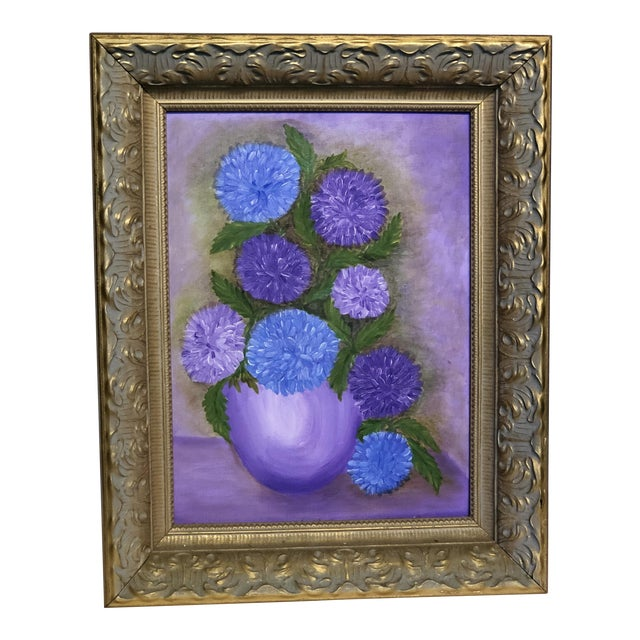 Mid-Century Purple Still Life Painting For Sale