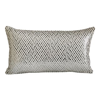 New Silver & White Woven Pillow Case For Sale