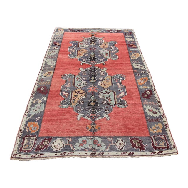 Tribal Antique Turkish Oushak Hand Knotted Rug - 5'1 X 8'2 For Sale