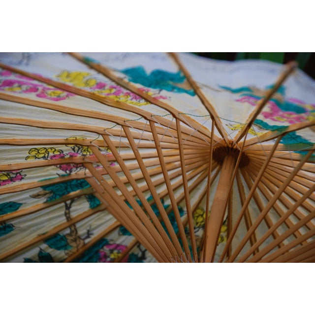 Vintage Asian Rice Paper Floral Umbrella - Image 8 of 10
