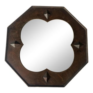 1940s Art Deco Wooden Wall Mirror For Sale