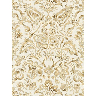 Scalamandre Mansfield Damask Print Fabric, Ivory & Burnished Gold For Sale