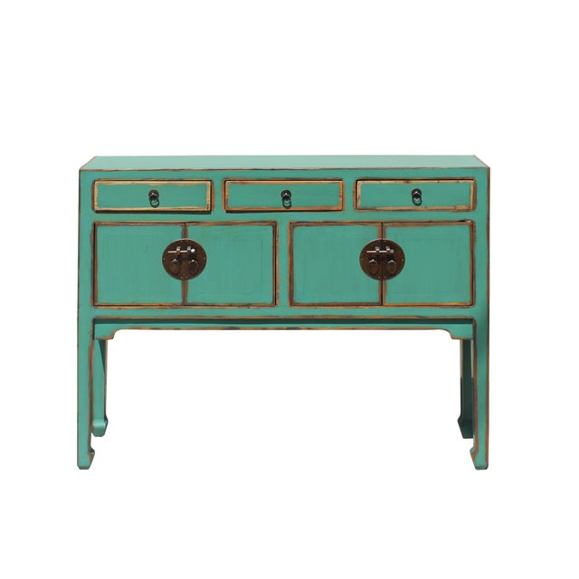 Green Chinese Oriental Distressed Teal Green Blue Narrow Slim Table For Sale - Image 8 of 8