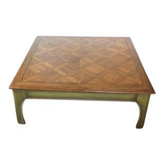 Mid-Century Chestnut Parquet Green Washed Ming Style Coffee Table