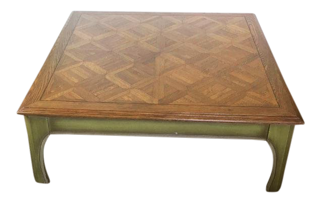 Mid Century Chestnut Parquet Green Washed Ming Style Coffee Table