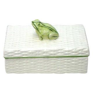 Italian Porcelain Ceramic Wicker Frog Box For Sale