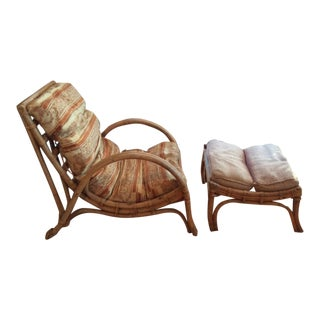 Vintage Calif-Asia Rattan Chair and Ottoman For Sale