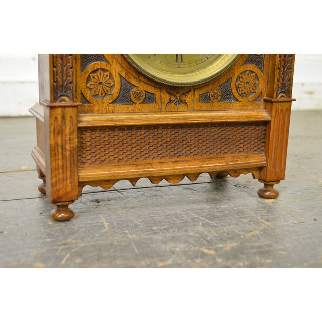 Antique Aesthetic Walnut Mantel Clock attributed to Daniel Pabst For Sale - Image 9 of 13